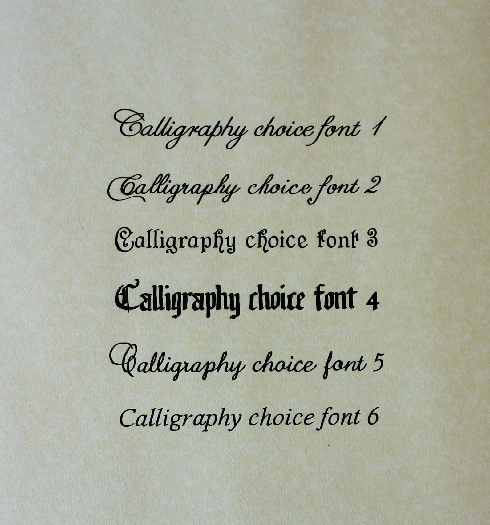 Calligraphy font options