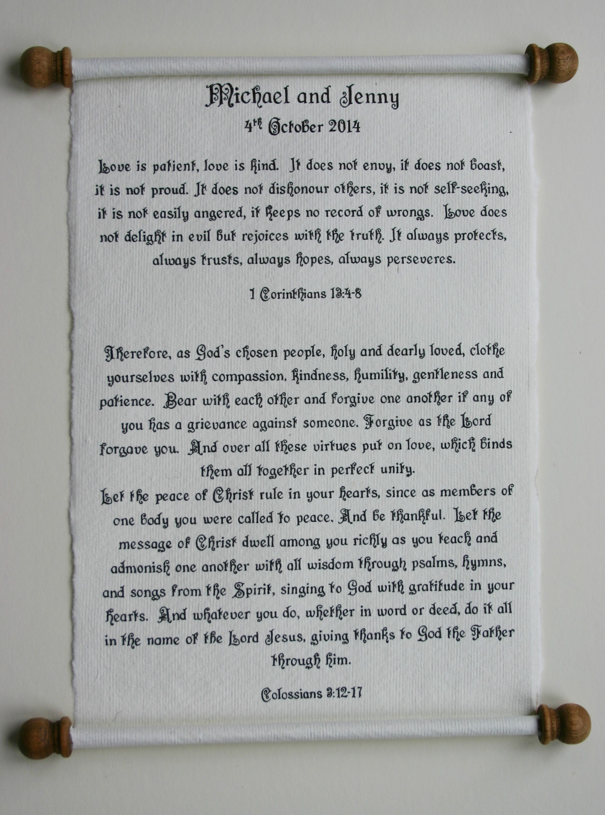 Handwritten, calligraphy letter which is presented in a gift box