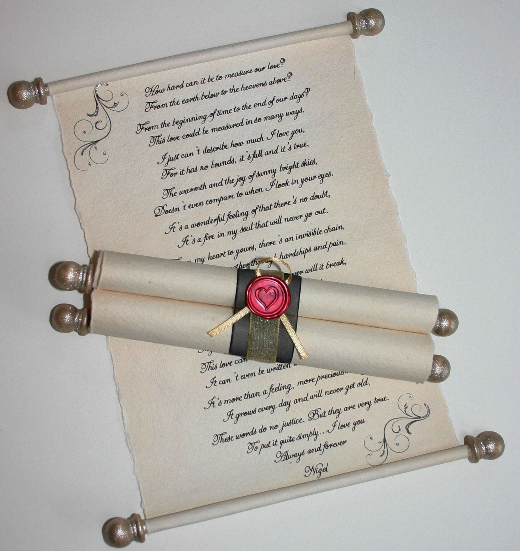 Small handwritten letter with gold dowels & finials