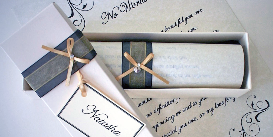 hand written letter gifts scroll