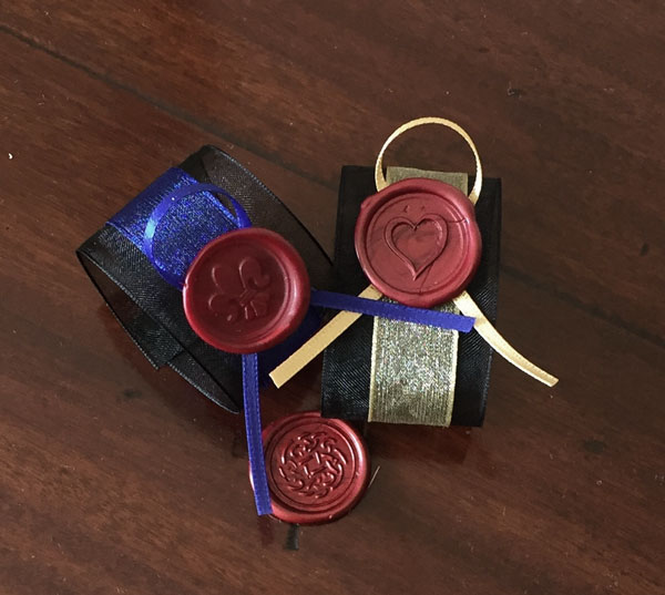 Wax seal designs- fleur de lis, celtic rose or heart