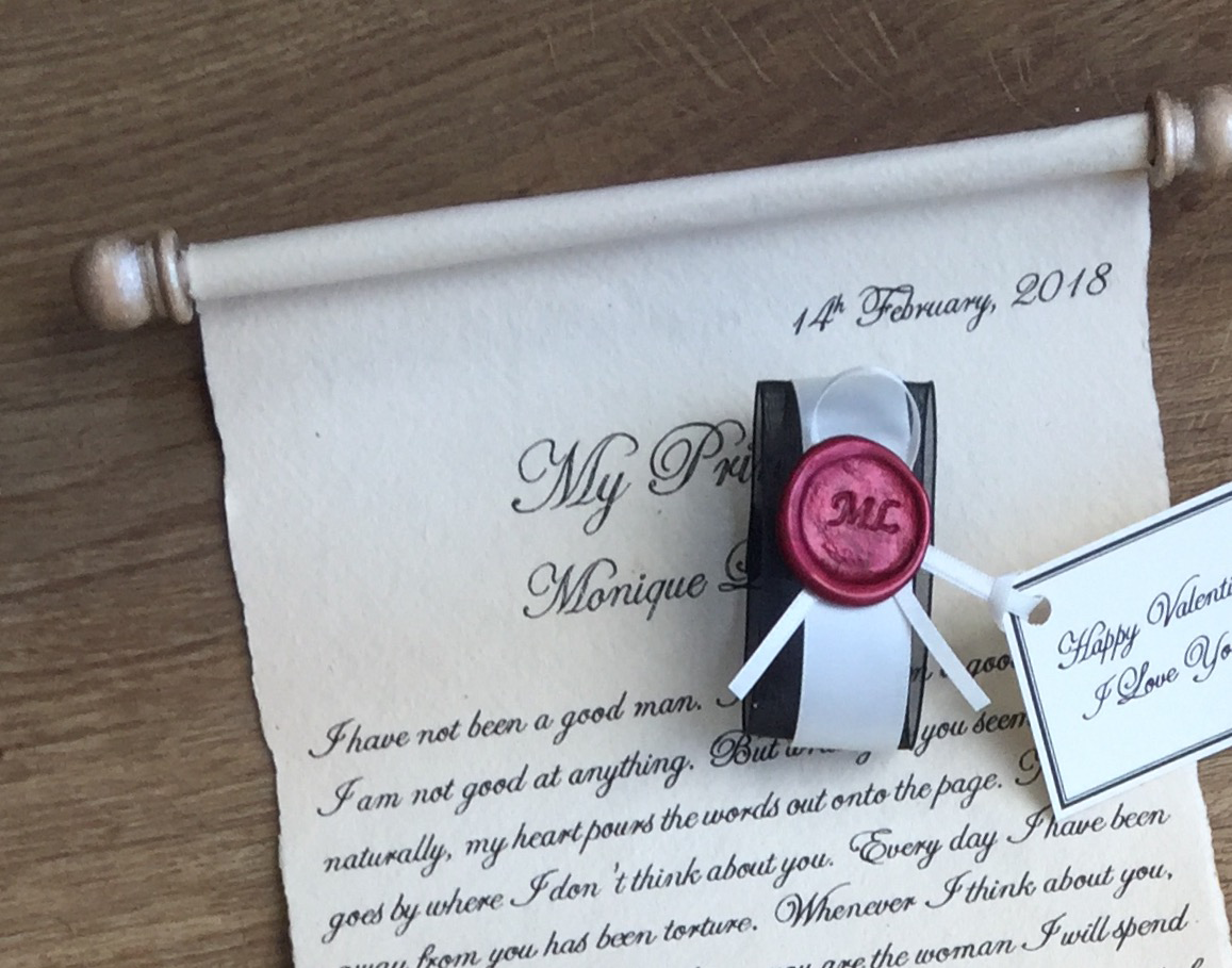 Handwritten letter gift with customised wax seal