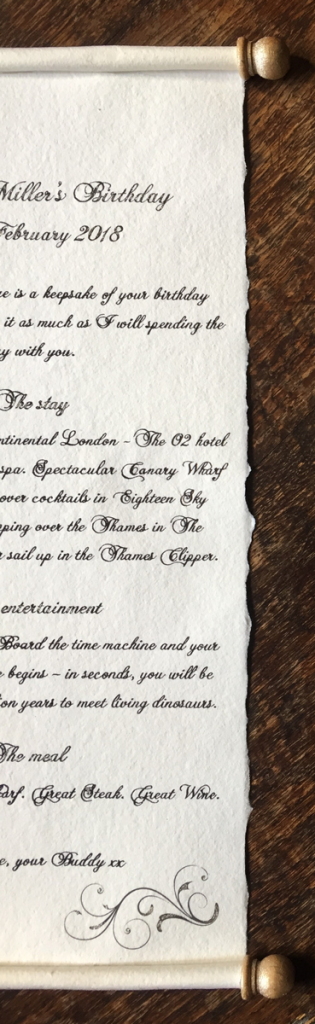 Handwritten letter with a choice of calligraphy font