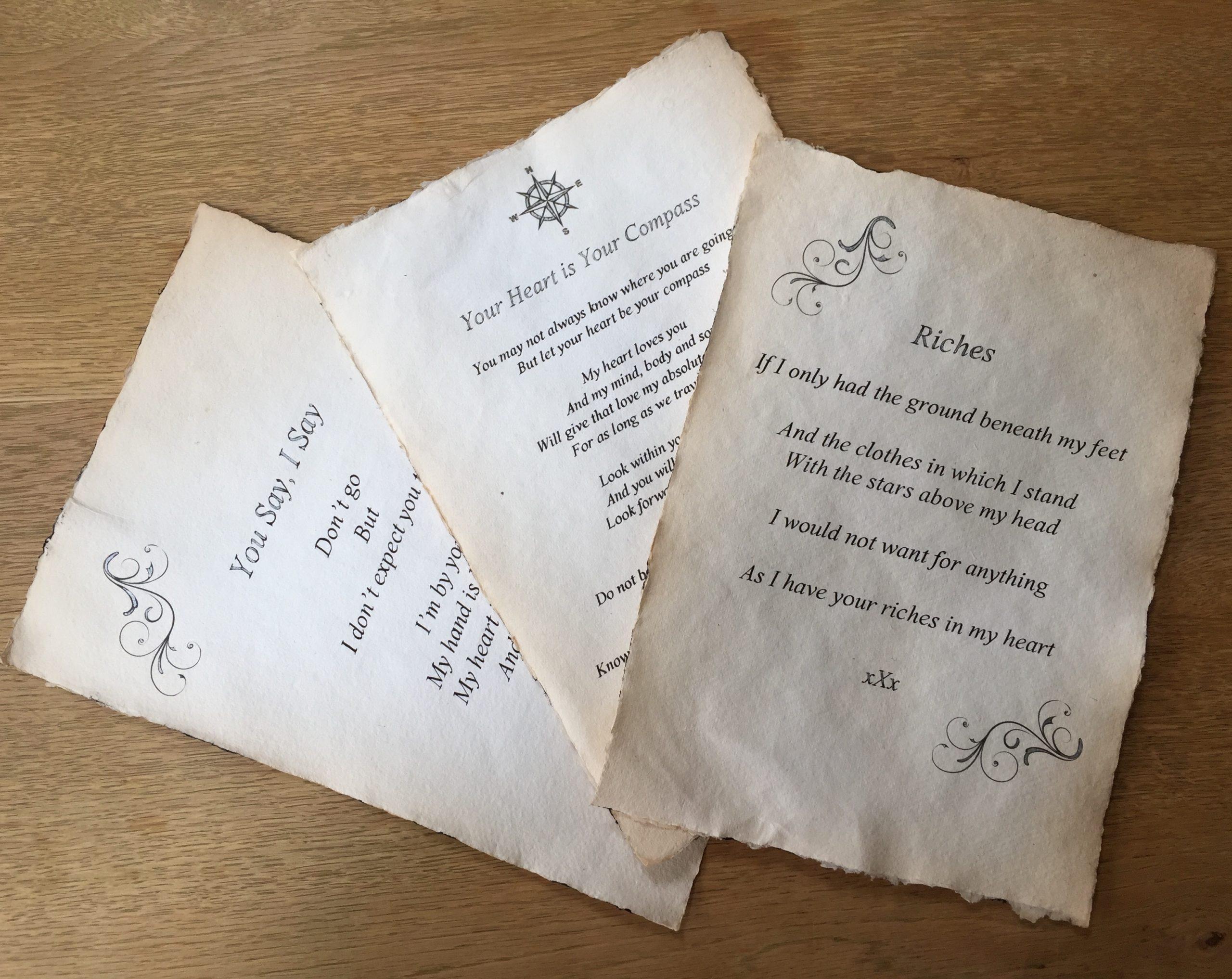handwritten letter scrolls