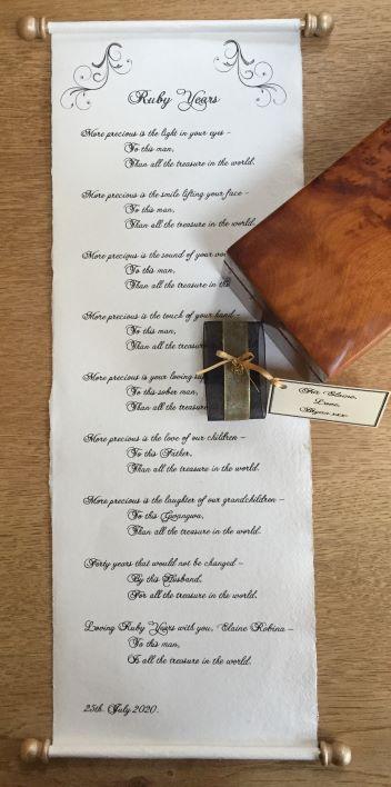 handwritten letter scroll