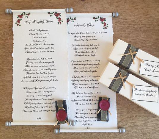 handwritten scrolls